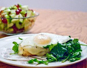 Egg Sandwich With Fruit Salad