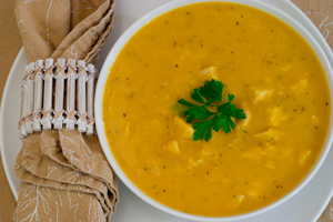 Turkey-Butternut Squash Soup With Celery Root